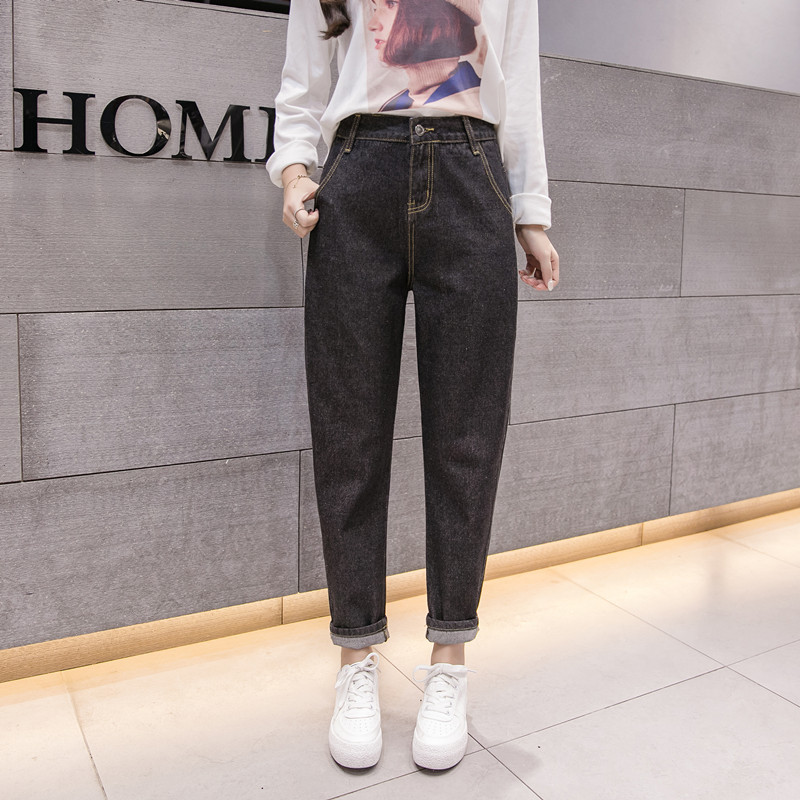 2019 Fashion Female Boyfriend Jeans For Women Casual Pencil High Waist Jeans Loose Mom Jeans Plus Size Black Denim Straight Pant
