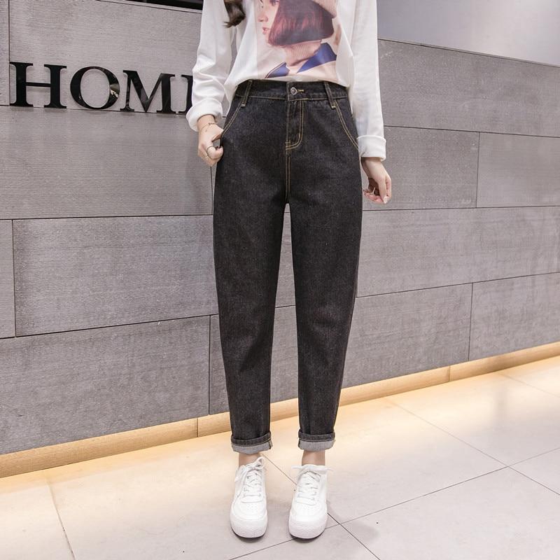 Fashion 2018 Autumn Female Boyfriend   Jeans   For Women Casual Pencil High Waist   Jeans   Loose Mom   Jeans   Black Denim Pants Big Size