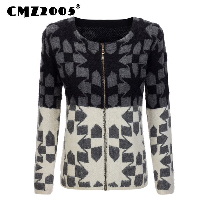 Hot Sale New Style Women Apparel Long Sleeve Round Neck Zipper Decorate Patchwork Fashion Winter Cardigans Knitted Sweater 18033