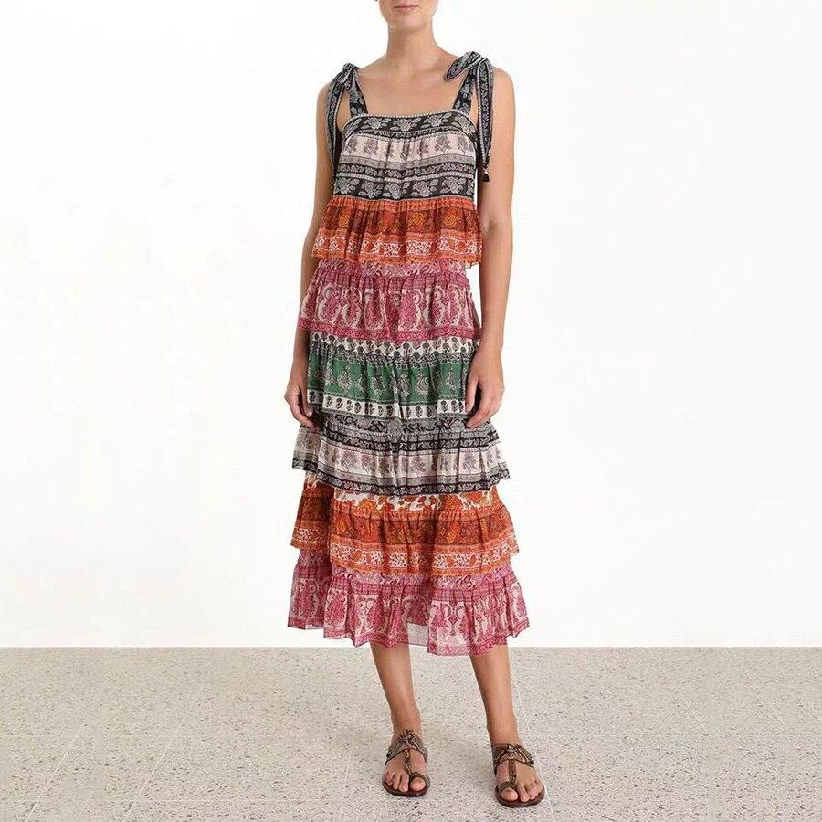 2019 Summer Print Vacation Women Dress Slash Neck Hit Color Cascading Ruffles Cake Dress Drawstring Long