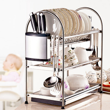 Deck Mount stainless steel Kitchen Shelf Hanger Organizer Hook Knife Pan Rack 3 Layers