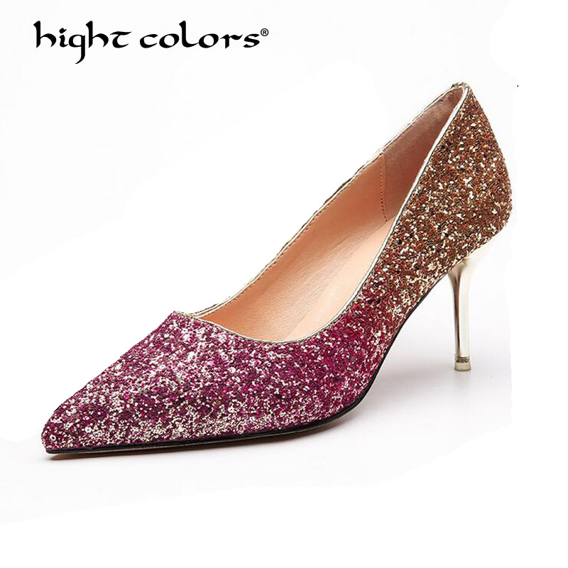 Women Pumps Bling Sexy High Heels Women Shoes Thin Heels Female Shoes Wedding Shoes Gold Sliver Red Purple Ladies Shoes TAO-588