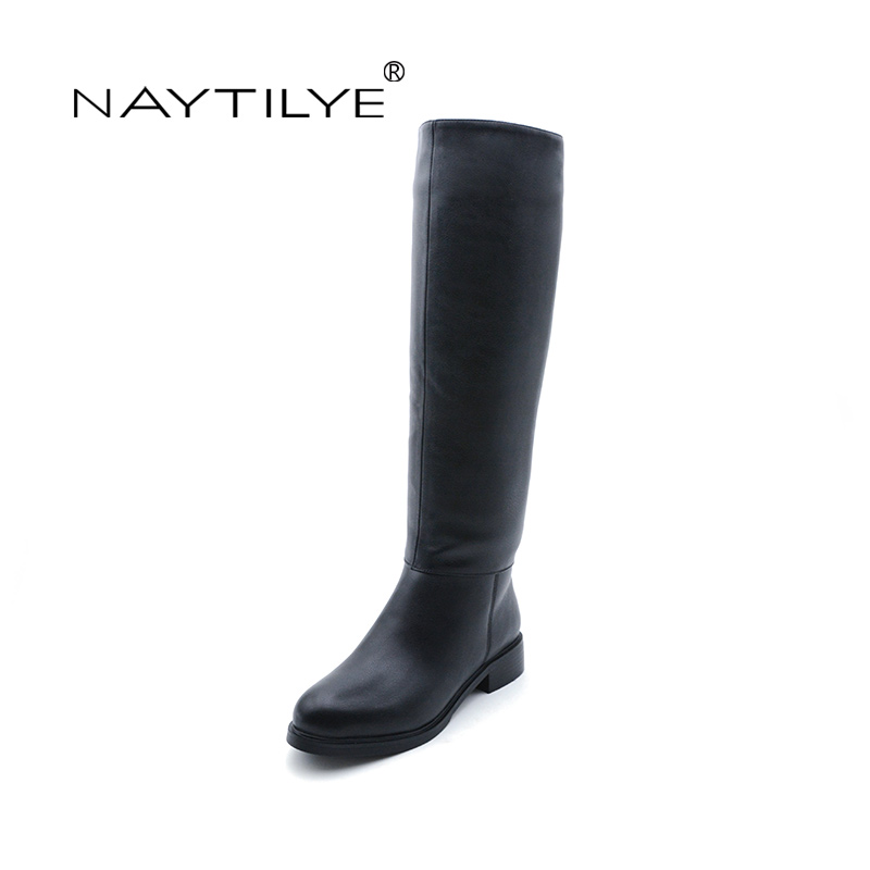 Здесь продается  NAYTILYT new fashion 2017 PU leather shoes woman high warm winter boots women square heels zip round toe black silver size 35-41  Обувь