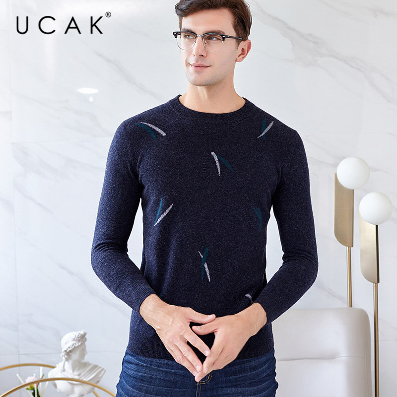UCAK Brand Merino Wool Sweater Men 2019 New Arrival Autumn Winter Cashmere Pullover Men O-Neck Pull Homme Knitted Sweaters U3033