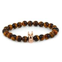 Rose Gold Batman Bracelet Men Lucky Gem 2017 New Design Fashion Jewelry Natrual Tiger Eye Stone
