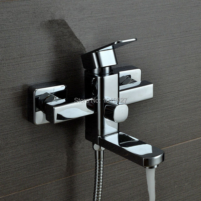 Newport Br Polished Chrome Bathroom Wall Mounted Modern Tub Filler With Handshower And Metal Cross Handles