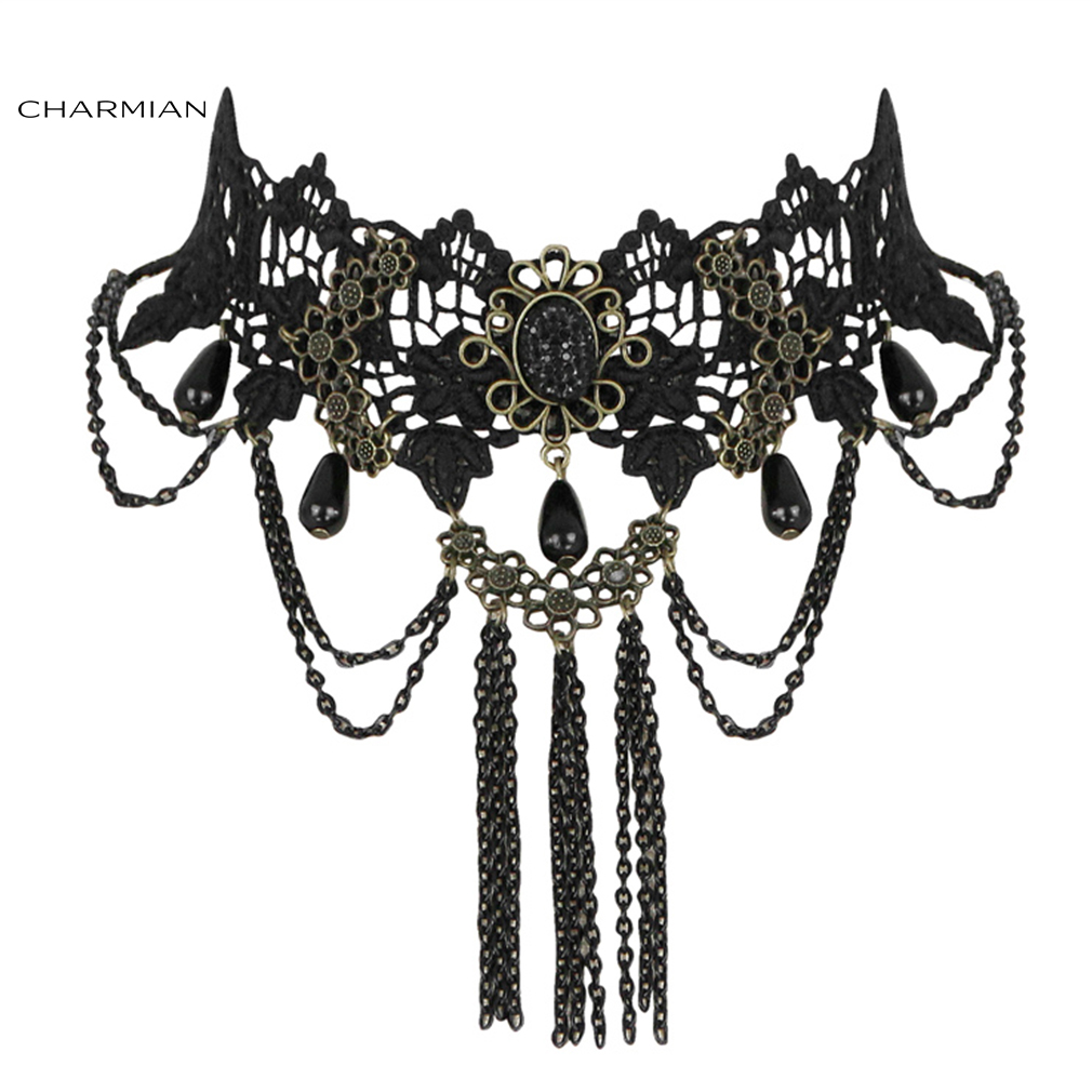 Charmian Vintage Gothic Victorian Lace Tassels Choker Necklace Accessories