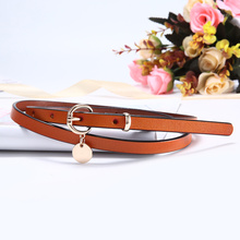 Fashion Women Skinny Belt Designer Lady Narrow Waistband Quality Cow Leather Strap with Gold PIN Buckle Waist Belts