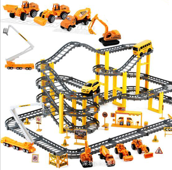 children alloy engineering car track set multi layer assembly puzzle toys boys gift brinquedo menino