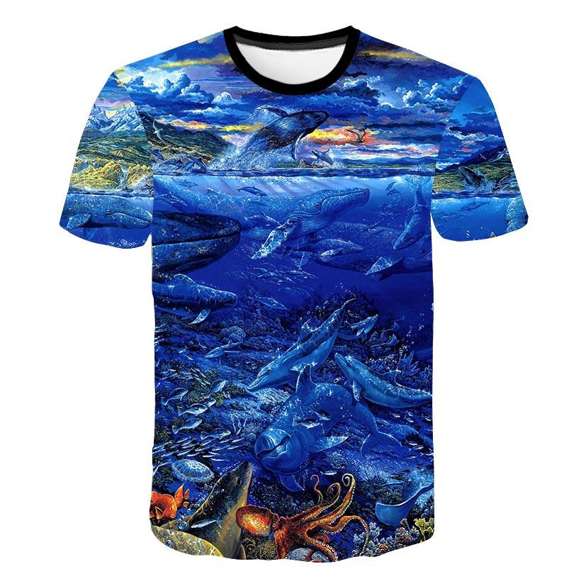 2018 3D Deep Sea Fish   T     Shirt   Unisex Men Summer Top Tee Hipster Harajuku   T  -  shirt   Casual Mens Tops Cool Ferocious Fish   T     Shirt