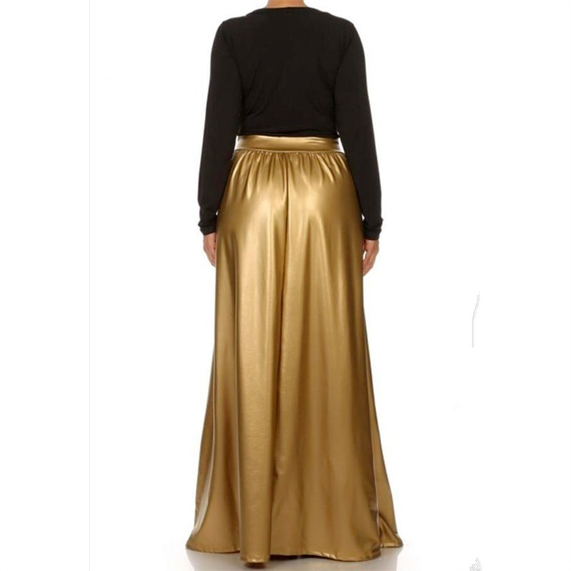 9d25dfc736a2bb ... Warm Pleated Skirts Fashion Casual Maxi Runway Faux Leather Plus Size  Faldas Autumn Skirts SIZE. Length:95-100cm,with pockets Model Show. 6 4 3_  2_ 8 ...
