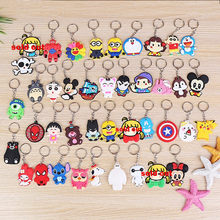 Avengers Keychain Pikachu Spider Man Batman Key Ring Japanese anime Holder Chaveiro Key Chains Bag Jewelry charms(China)