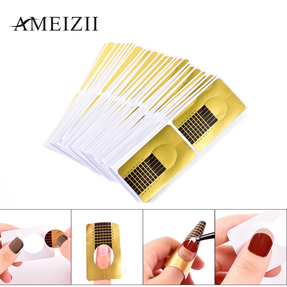 AMEIZII 100pcs/packs Golden Nail Art Extension Sticker Nail Gel Tips French Poly Gel Guide Nail Form Manicure Styling Tools