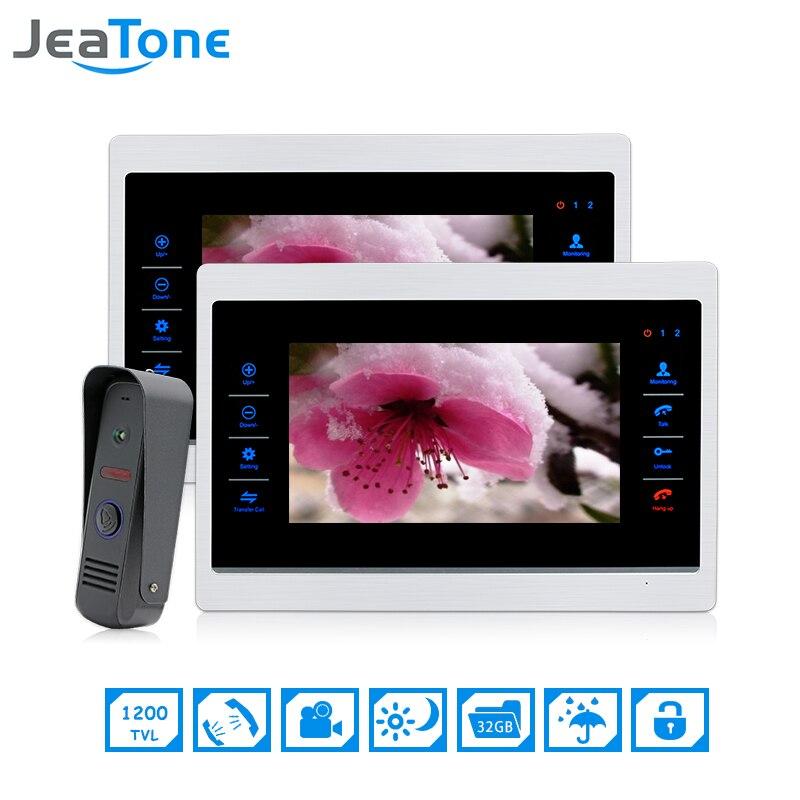 JeaTone 7 Inch 1 To 2 Color Video Door Phone Intercom Door Bell Door Speaker Hands-free Touch Button Monitor Waterproof Doorbell