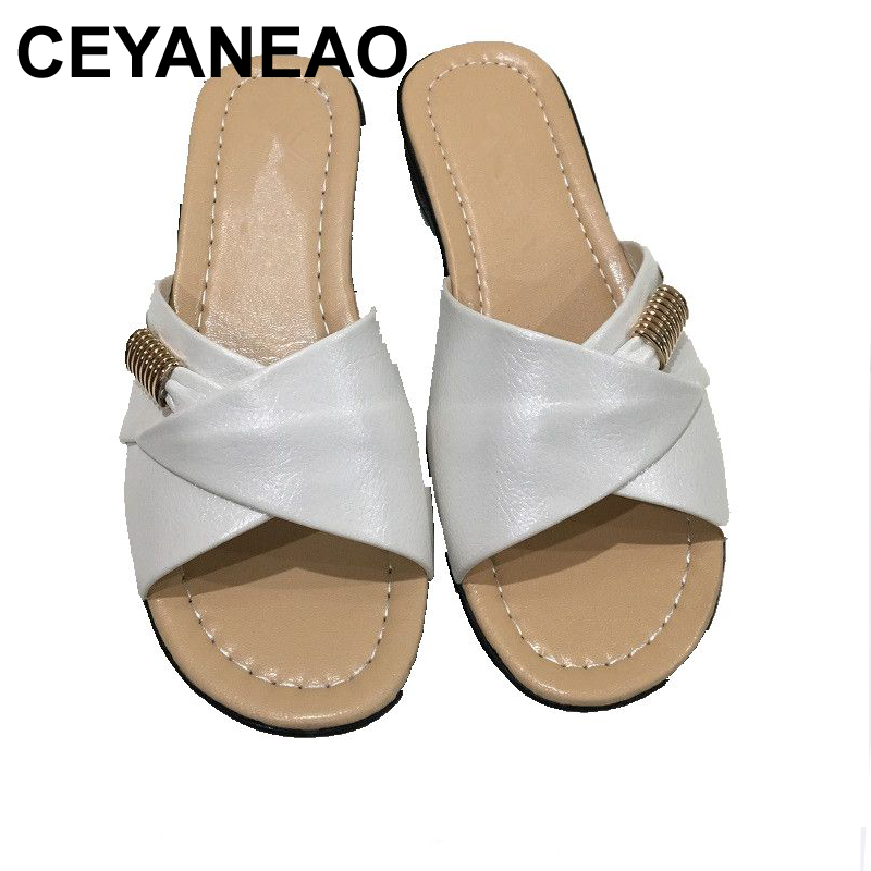 CEYANEAO 2017 summer new Mother sandals elderly fashion casual Leather Female flat sandals hollow large size women sandals 41 42 футболка мужская u s polo assn цвет белый g081gl0110sapco vr013 размер 3xl 56