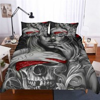 3pcs/lot beauty bone Print Queen Comforter Sets Bed Mattresses Bedding King Twin Size Luxury 3d Bed Cover Duvet Cover Sheets