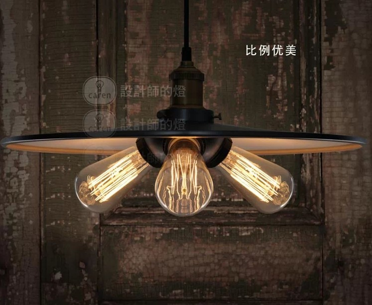 32CM Vintage Iron  Pendant Light  Metal Edison 3-light Lighting Fixture Droplight Cafe Bar Coffee Shop Hall Store Club edison vintage style e27 copper screw rotary switch lamp holder cafe bar coffee shop store hall club