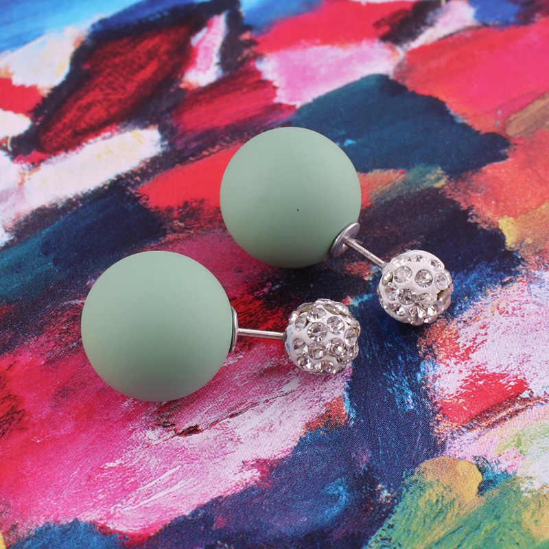 Top Nieuwe Materiaal Shining Volledige Crystal Dubbele Kanten Parel Oorbellen Rubber Dubbele Bal Kraal Oorbellen Voor Vrouwen Brincos