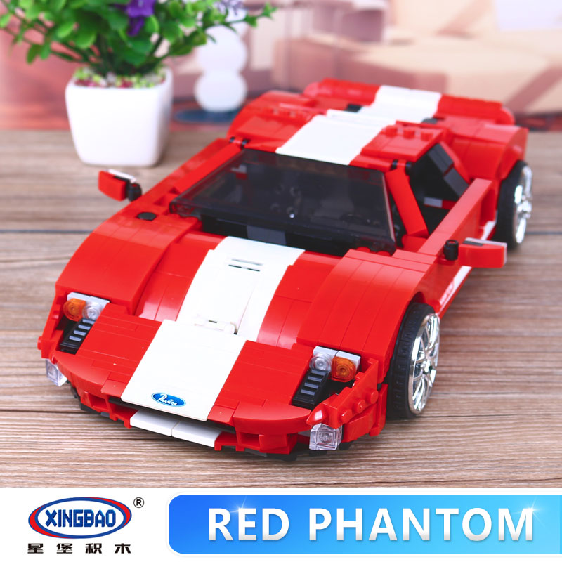 XingBao 03011 919Pcs Genuine Creative MOC Technic Series The Red Phantom Racing Car Set Children Building Blocks Bricks Boy Toys