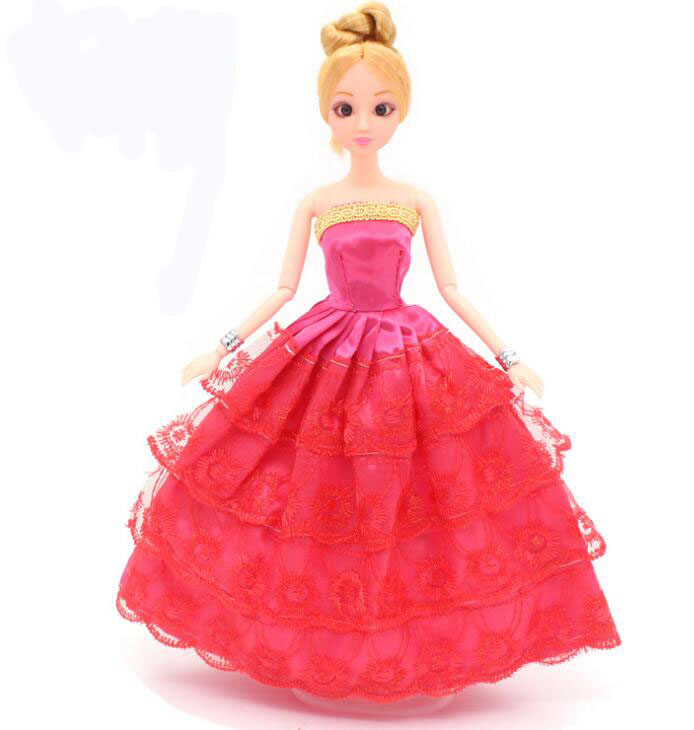 NK One Pcs  Princess Doll Wedding Dress Noble Party Gown For Barbie Doll Fashion Design Outfit Best Gift For Girl' Doll 032A d0372 best girl gift 50cm kurhn princess doll with large wedding dress gift luxury dress set handemade romantic bride 06
