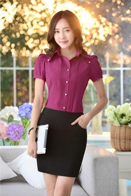 bc5374718 Oficina mujer moda trajes para mujeres Work Wear con falda y blusa Sets  Tops camisa de