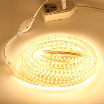 Светодиодный прокладки AC 220V SMD3014 120 светодиодный/M светодиодный лента 220 IP67 Водонепроницаемый светодиодный светильник полосы штепсельная ви...