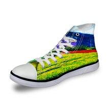 Noisydesigns niñas zapatillas de deporte casuales de las mujeres vintage zapatos vulcanizados ZAPATOS DE al aire libre de alta verde yarda impresión plana zapatos de lona