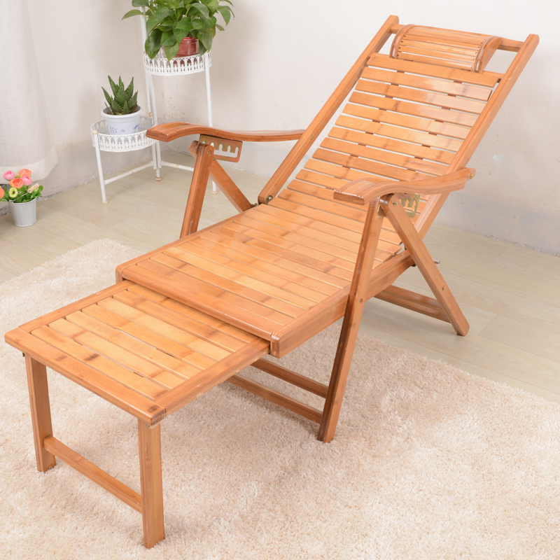 US $119.2 20% OFF|Patio Chaise Lounge Chair Outdoor Beach Reclining Garden  Yard Adjustable Recliner Bamboo Furniture Folding Sun Lounger Daybed-in Sun  ...