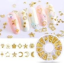 Украшения для ногтей металлические Смешанные формы Геометрия полые золотые 3D Советы DIY Инструменты для дизайна ногтей OA66