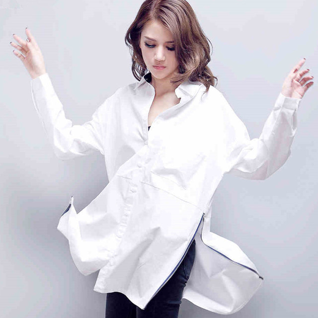 8ec4130ac2c Fashion women blouses boyfriend shirts camisas side slit white shirt blusas  plus size tops long sleeve blusas femininas camiseta