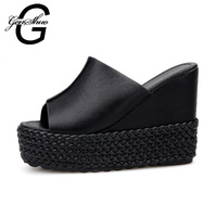GENSHUO 12CM Heels Sandals Summer Shoes Women Platform Shoes Wedge Fashion Leisure Sandals Shoes Heels Big