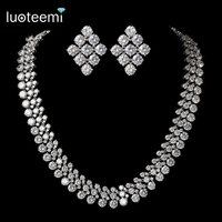 LUOTEEMI Brand Luxurious Europe Style White Gold Color AAA Cubic Zircon Round Necklace Bridal Wedding Jewelry Accessories