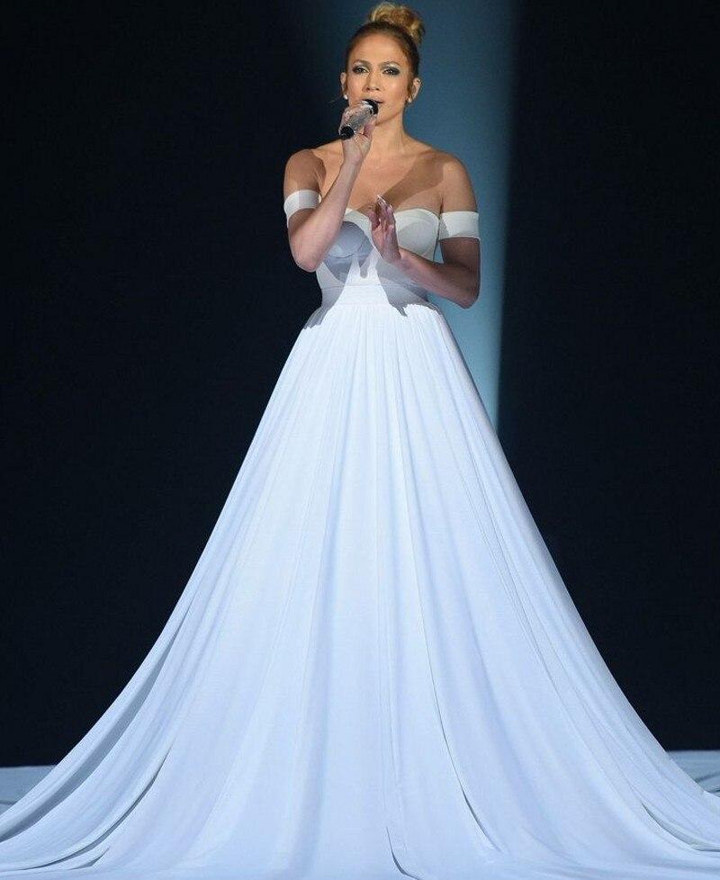 Incroyable Jennifer Lopez de lépaule chérie Long Train robe de soirée ivoire robe formelle