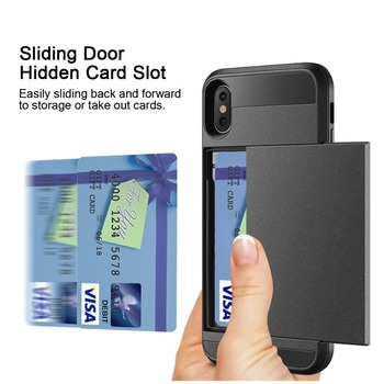 Slide Wallet Credit Card Slot Phone Case For iPhone 7 6 6S Plus 5 S 5s SE 5C Dual Layer Armor Shockproof Silicone TPU Back Cover visa