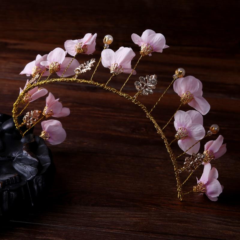 elegant gold metal pink flower women headband handmade peal plant wedding tiaras bridal floral hair accessories