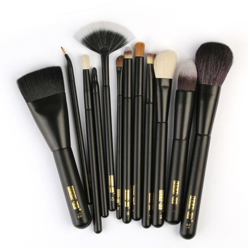 12 Pcs Synthetic Hair Wood Handle Soft Powder Foundation Blush Eyeshadow Lips Make Up Brush Kit B2 10 pcs soft synthetic hair make up sets