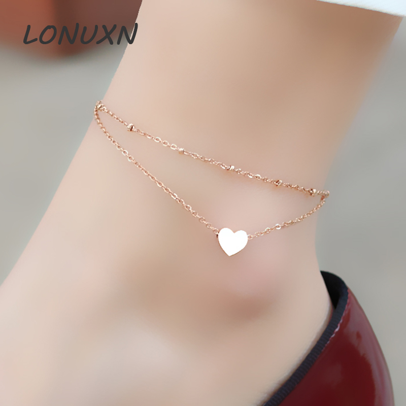 Lovely fashion all-match double love female Anklet jewelry with titanium plated rose color