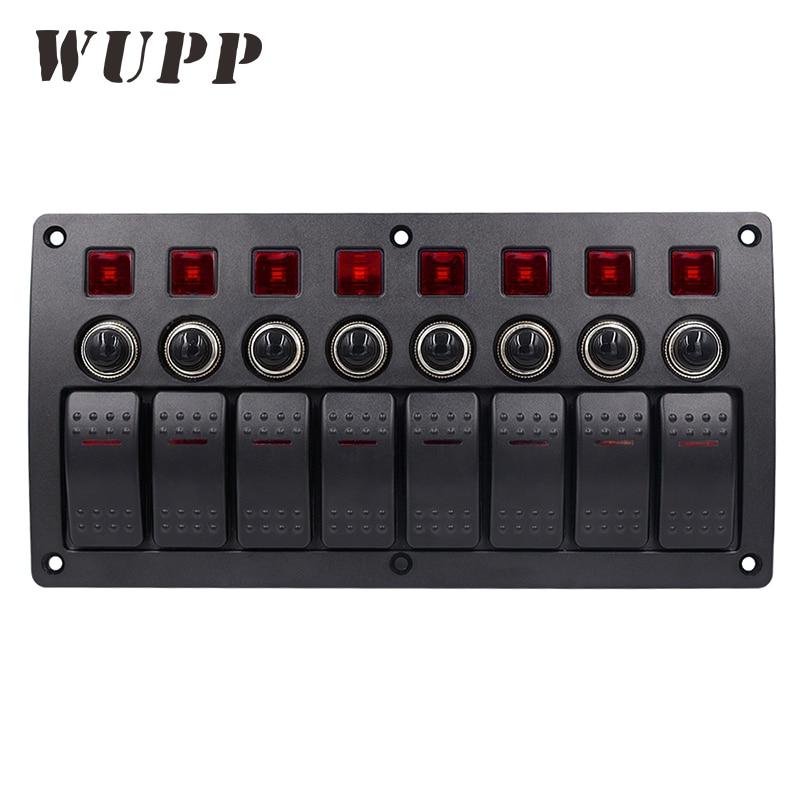 WUPP 8 Gang переключатель панели автомобиля Стайлинг водостойкий 12 В в авто лодка морской Красный светодио дный светодиодный кулисный переключ...