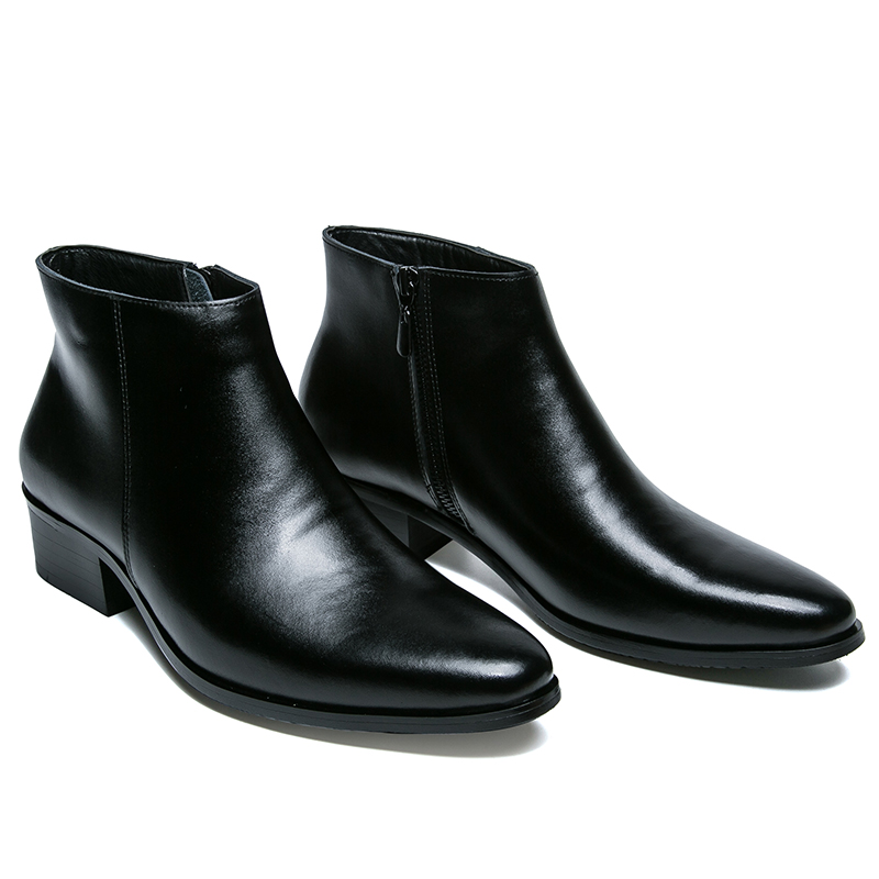 Hommes bottines de haute qualité confortable noir mariage robe formelle chaussures hommes d'affaires - 2