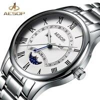 AESOP Men Watch Moon Phase Men Quartz Wrist Wristwatch Stainless Steel Male Clock Relogio Masculino Hodinky