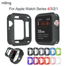 Miękki futerał silikonowy do Apple Watch 5 4 3 2 1 38MM 42MM pełne etui ochronne zderzak do iWatch 4/5 44MM 40MM Watch Cover Armor(China)