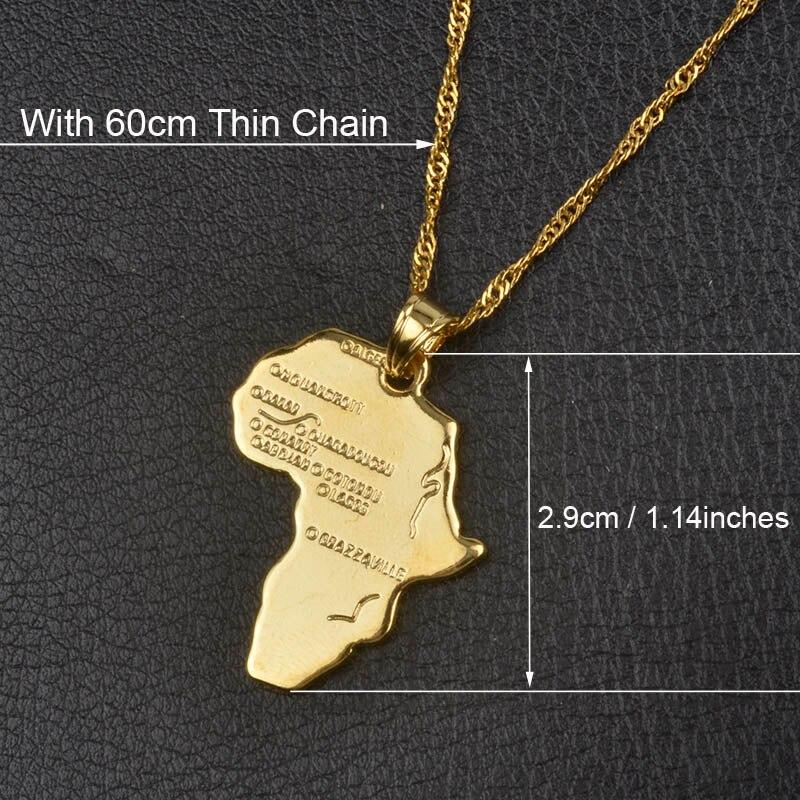 Anniyo кулон Карта Африки ожерелье для женщин мужчин серебро/золото Цвет эфиопские ювелирные изделия карты Африки хип-хоп Пункт#132106 - Окраска металла: With 60cm Thin Chain