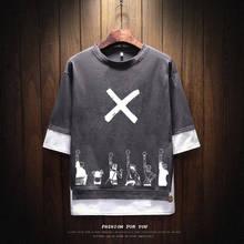 Summer One Piece Tshirt Streetwear Casual Hooded Sweater Loose Mens Cartoon T shirt Funny High Street Top Tees Hip Hop T shirt