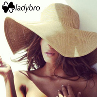Ladybro Marca Ampia Brim Floppy Cappello di Paglia di Sun Della Spiaggia Delle Donne cappello Pieghevole di Estate UV Proteggono Signore Cap Viaggi Protezione Casuale femminile