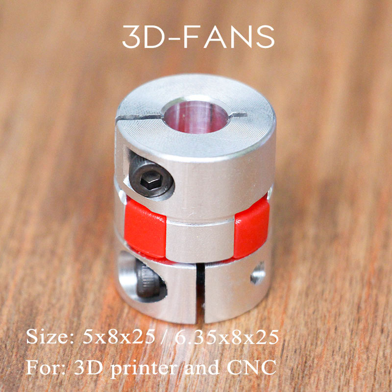 3D Printer Parts 5mm to 8mm / 6.35mm to 8mm CNC Motor Jaw Shaft Coupler Flexible Coupling Spider Flexible 5*8*25mm / 6.35*8*25mm flexible shaft coupling od18mmx25mm cnc stepper motor coupler connector 6 35 to 8mm
