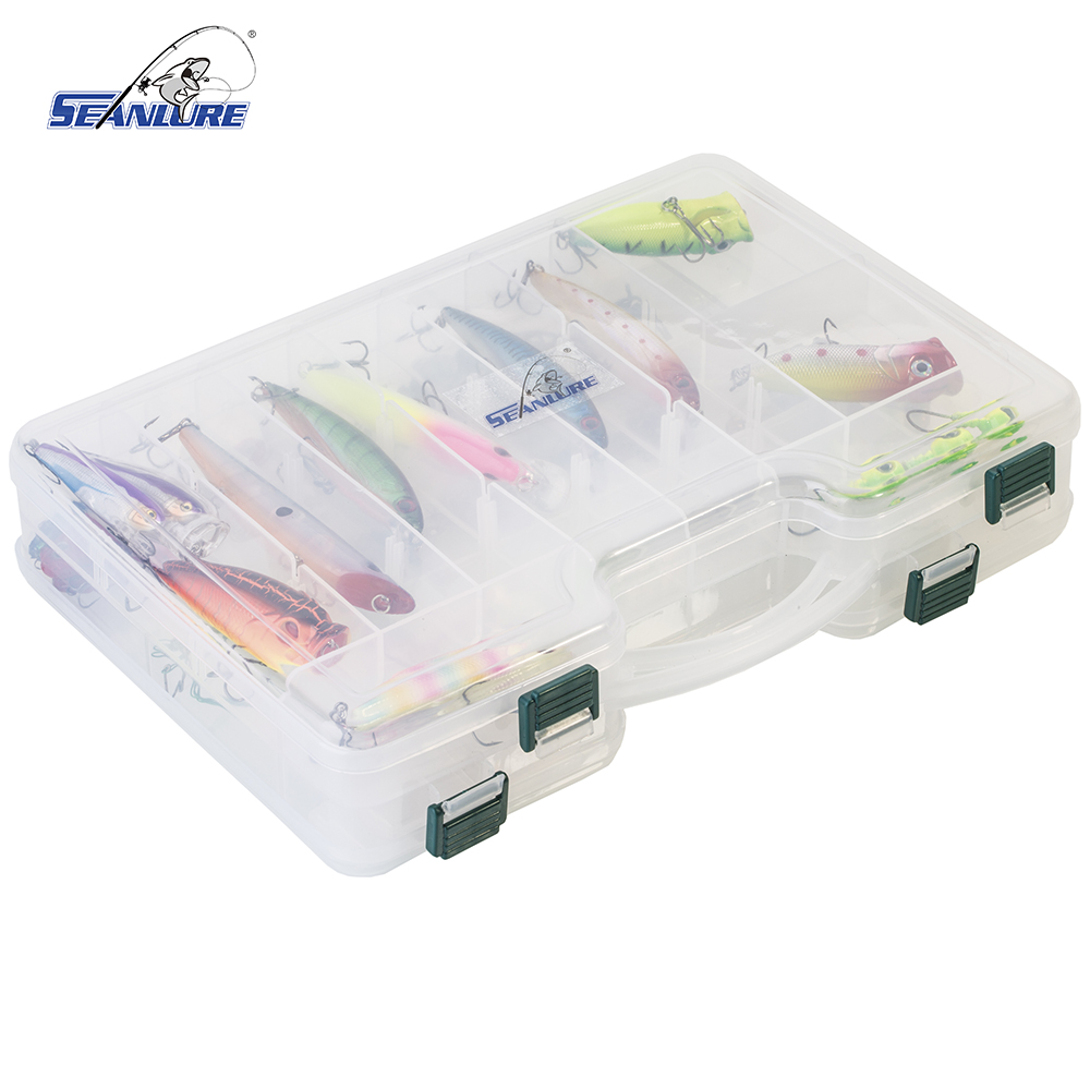 Seanlure Double Layers Grid Design Fishing Lure Tackle Hooks Storage Case Box Portable Lure Fishing Box Tackle with Compartment portable 2 layers many compartments visible pvc fishing lure bait hooks fish tackle box accessory storage box case fishing tool