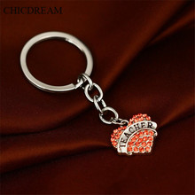 CHICDREAM 2017 Teachers Gift Love Key Chain Luxury Charms Key Ring Friendship Keychain Women Red Crystal Thanksgiving Key Finder