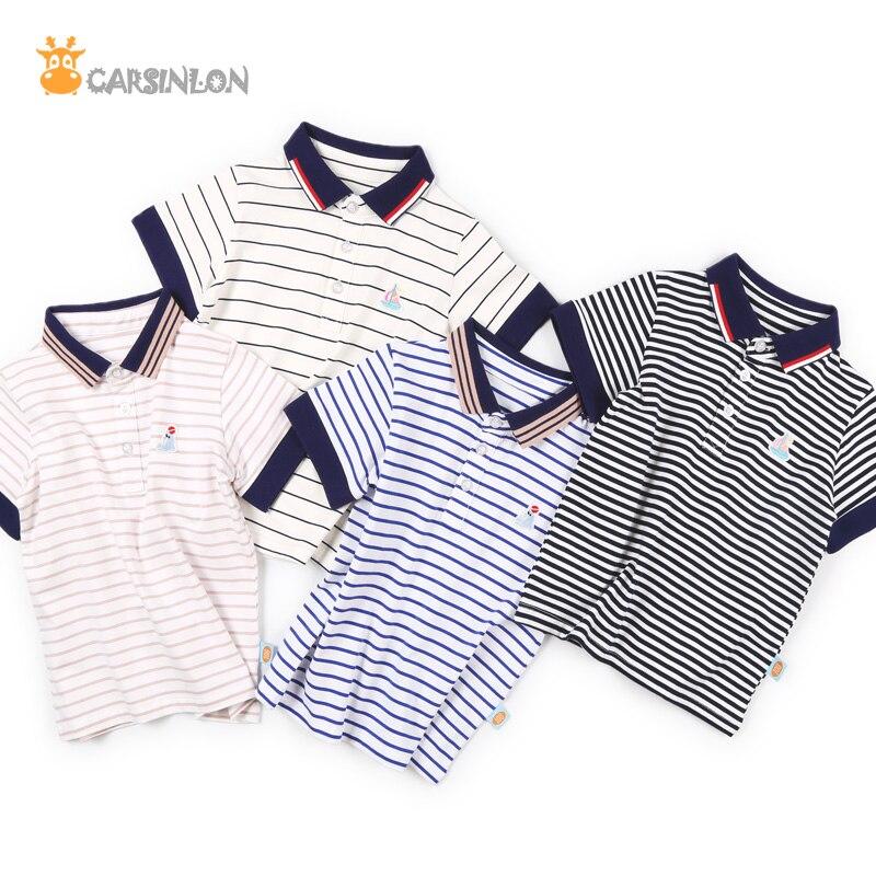 763a88e512 Envío libre 2018 muchachos del verano Polo camisa rayada manga corta  algodón fino bordado Polo niños tops niños ropa camisa polo