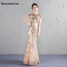 2019 new stain women s sleeveless sexy qipao dress chinese style mandarin  collar formal long cheongsam( 74eb3063520f