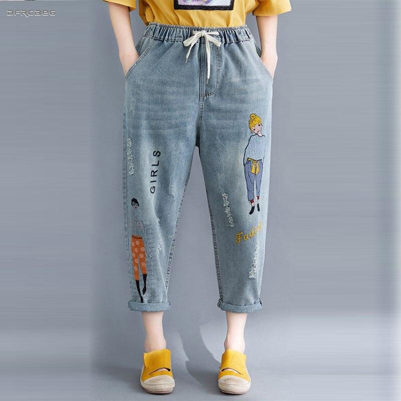 3XL 4XL Plus Size Cartoon Embroidery Boyfriend Jeans Womens Summer 2019 Fashion Streetwear Loose Denim Jean Harem Pants Femme